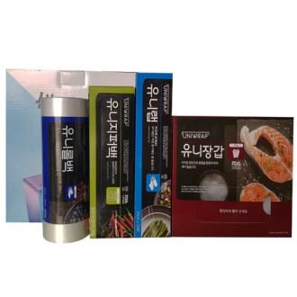 유니롤백+지퍼백+랩+위생장갑-4종세트