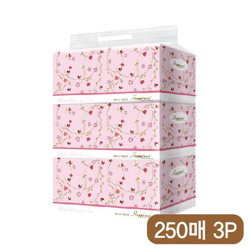 해피니스 미용티슈 (250매) 새와꽃 3P [특판상품]