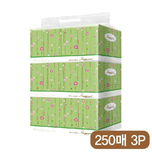 해피니스 미용티슈 (250매) 꽃넝쿨 3P [특판상품]