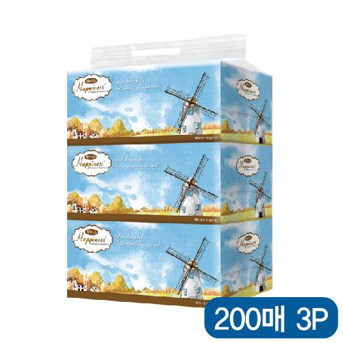 해피니스 미용티슈 (200매) 하늘풍차 3P [특판상품]