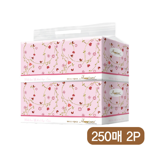 해피니스 미용티슈 (250매) 새와꽃 2P [특판상품]