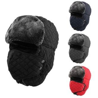 누빔 방한 마스크 모자