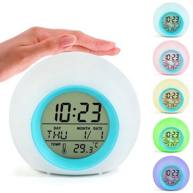 LED 조명 동그리 알람시계 - 7가지조명색변경, 타이머,온도,날짜,요일표시