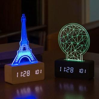 우드 로맨틱 무드등 LED 탁상시계 [특판상품]
